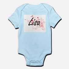 Lisa Artistic Name Design with Hearts Body Suit