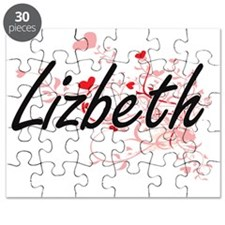 Lizbeth Artistic Name Design with Hearts Puzzle