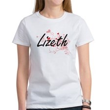 Lizeth Artistic Name Design with Hearts T-Shirt