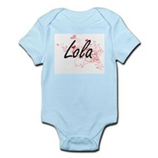 Lola Artistic Name Design with Hearts Body Suit