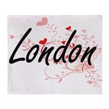 London Artistic Name Design with Hea Throw Blanket