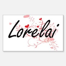 Lorelai Artistic Name Design with Hearts Decal