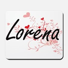 Lorena Artistic Name Design with Hearts Mousepad