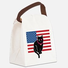 Unique 4th of july cat Canvas Lunch Bag