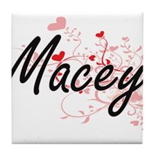 Macey Artistic Name Design with Heart Tile Coaster