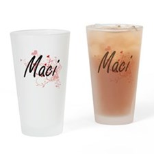 Maci Artistic Name Design with Hear Drinking Glass