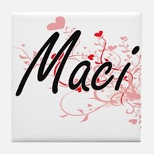 Maci Artistic Name Design with Hearts Tile Coaster