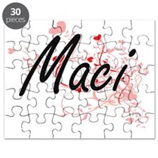 Maci Artistic Name Design with Hearts Puzzle