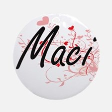 Maci Artistic Name Design with He Ornament (Round)