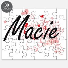 Macie Artistic Name Design with Hearts Puzzle
