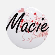 Macie Artistic Name Design with H Ornament (Round)