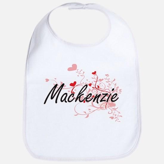 Mackenzie Artistic Name Design with Hearts Bib