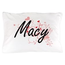 Macy Artistic Name Design with Hearts Pillow Case