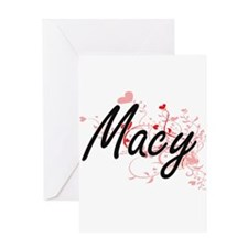 Macy Artistic Name Design with Hear Greeting Cards