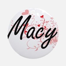 Macy Artistic Name Design with He Ornament (Round)