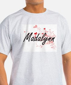 Madalynn Artistic Name Design with Hearts T-Shirt