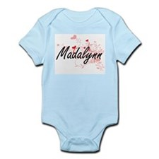 Madalynn Artistic Name Design with Heart Body Suit