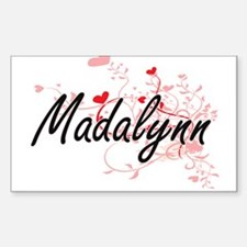 Madalynn Artistic Name Design with Hearts Decal