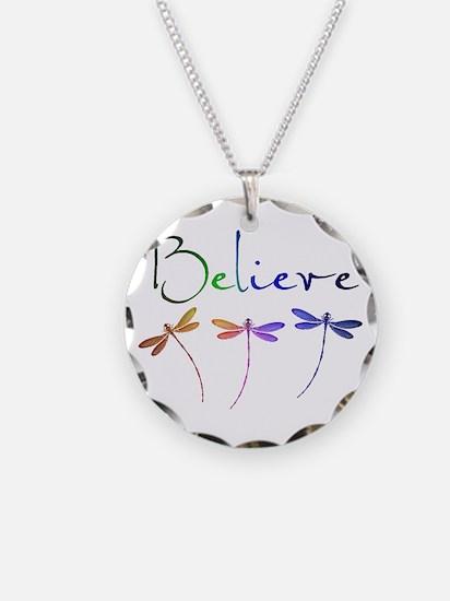 Believe...dragonflies Necklace Circle Charm
