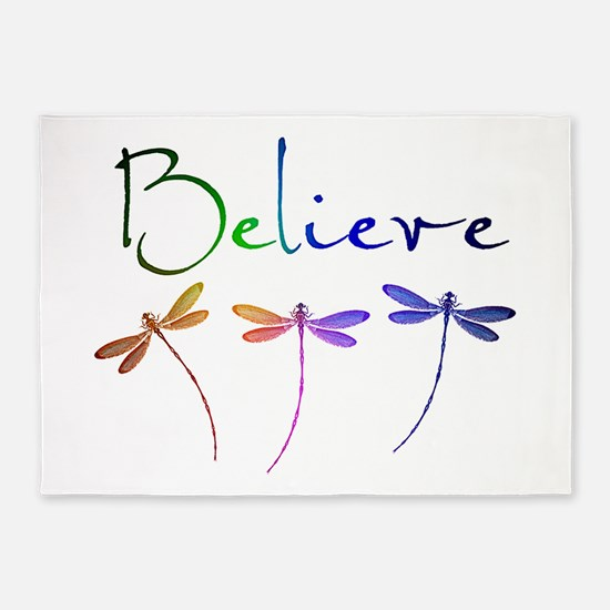 Believe...dragonflies 5'x7'Area Rug