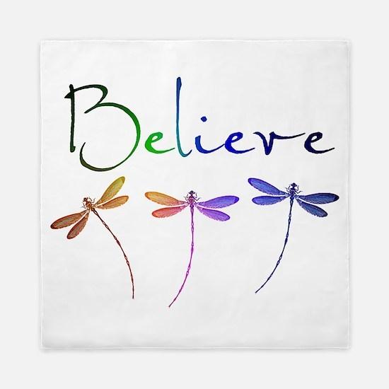 Believe...dragonflies Queen Duvet