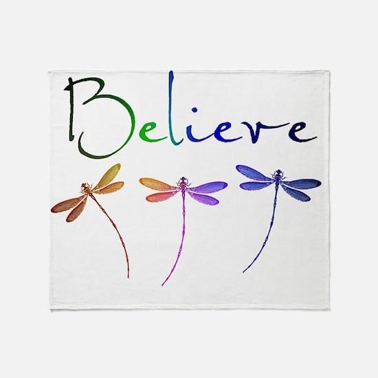 Believe...dragonflies Throw Blanket