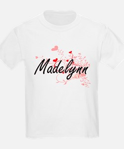 Madelynn Artistic Name Design with Hearts T-Shirt