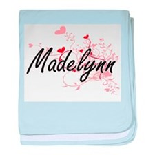 Madelynn Artistic Name Design with He baby blanket
