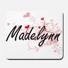 Madelynn Artistic Name Design with Heart Mousepad