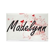 Madelynn Artistic Name Design with Hearts Magnets