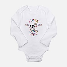I Love Cows Long Sleeve Infant Bodysuit