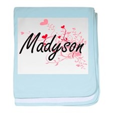 Madyson Artistic Name Design with Hea baby blanket