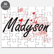 Madyson Artistic Name Design with Hearts Puzzle
