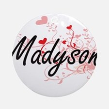 Madyson Artistic Name Design with Ornament (Round)