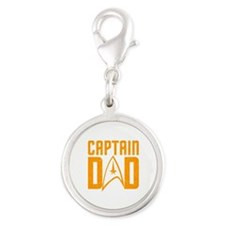 Captain Dad Silver Round Charm
