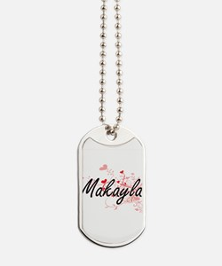 Makayla Artistic Name Design with Hearts Dog Tags