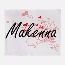 Makenna Artistic Name Design with He Throw Blanket