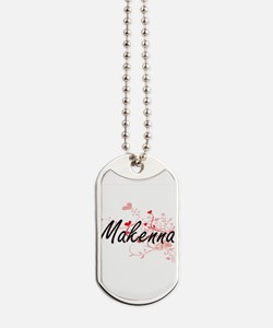 Makenna Artistic Name Design with Hearts Dog Tags