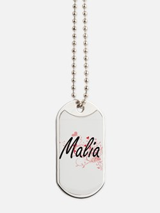 Malia Artistic Name Design with Hearts Dog Tags