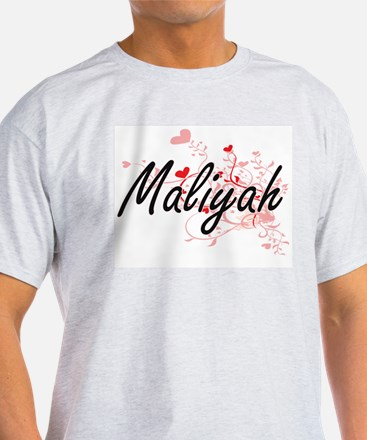 Maliyah Artistic Name Design with Hearts T-Shirt
