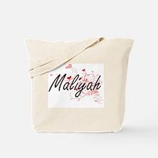 Maliyah Artistic Name Design with Hearts Tote Bag