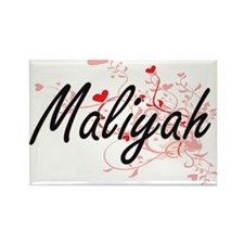 Maliyah Artistic Name Design with Hearts Magnets