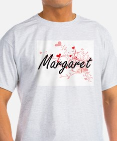 Margaret Artistic Name Design with Hearts T-Shirt