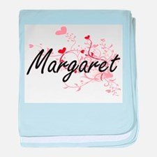 Margaret Artistic Name Design with He baby blanket