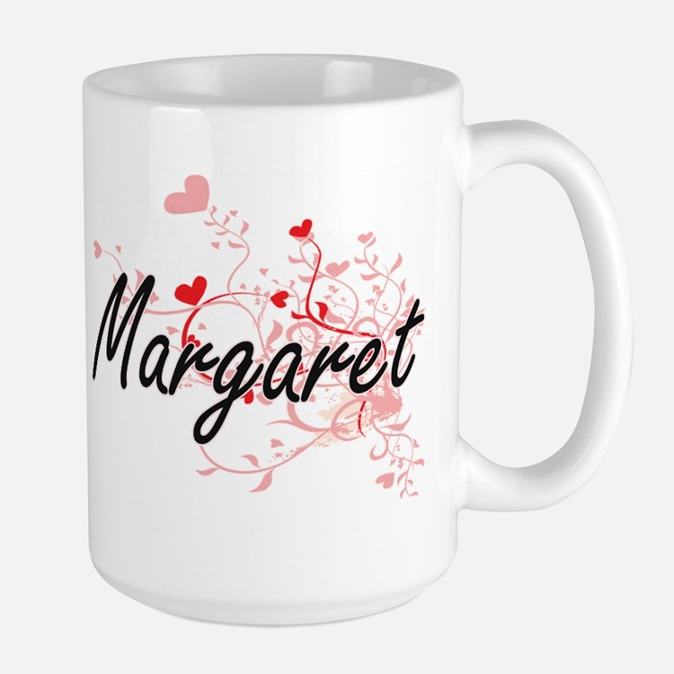 Margaret Artistic Name Design with Hearts Mugs