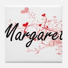 Margaret Artistic Name Design with He Tile Coaster