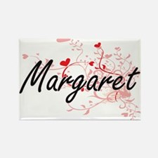 Margaret Artistic Name Design with Hearts Magnets
