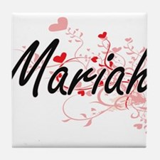 Mariah Artistic Name Design with Hear Tile Coaster