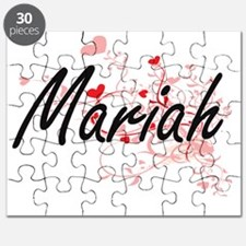 Mariah Artistic Name Design with Hearts Puzzle