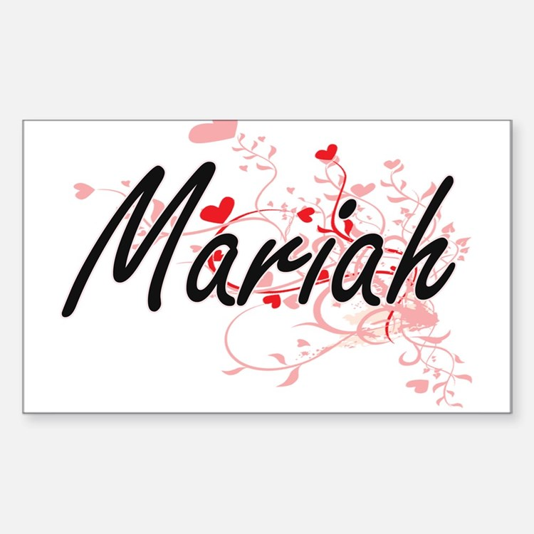 Mariah Artistic Name Design with Hearts Decal